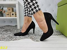 Нарядные туфли лодочки с камушками черные