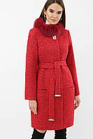 Красивое женское зимнее пальто шерсть ангора воротник мех меланж красное