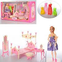 Мебель для кукол 889-5 спальня, кровать 32 см, трюмо, платья 4 шт, кукла 29 см