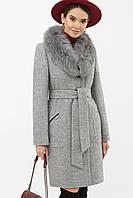 Женское зимнее пальто серое с меховым воротником шерсть ангора