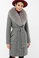 Женское зимнее пальто с пышным меховым воротником серое
