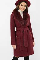 Зимнее женское пальто из шерсти с меховым воротником бордовое меланж