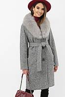 Женское зимнее пальто из шерсти ангора с воротником из меха серое меланж
