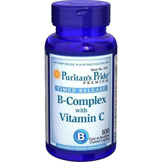 Puritan's Pride Vitamin B-Complex + Vitamin C, Комплекс витаминов B и С (100 таб.)
