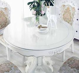 Круглая скатерть мягкое стекло Soft Glass на круглый стол диаметр - 1.1 м (толщина 0.4 мм) Прозрачная