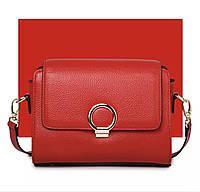 Кожаная сумочка женская ярко красная, фото 1