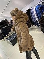 Женская норковая шуба с капюшоном L размер