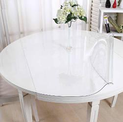 Круглая скатерть мягкое стекло Soft Glass Покрытие на круглый стол Диаметр - 1.0м (толщина 0.5 мм) Прозрачная