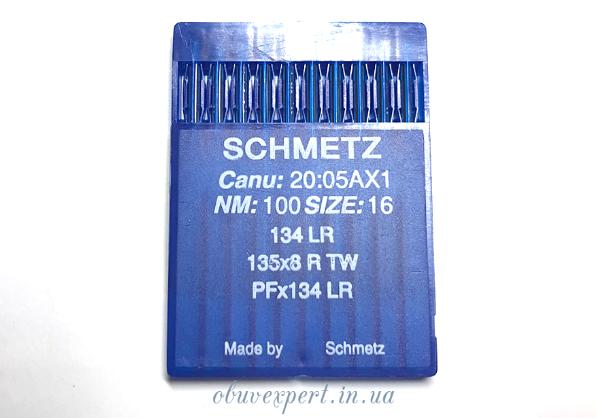 Голка для шкіри Schmetz PFx134 LR 100/16, з ріжучим вістрям, пластина 10 голок