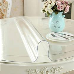 Круглая скатерть мягкое стекло Soft Glass Покрытие на круглый стол Диаметр - 1.1м (толщина 0.5 мм) Прозрачная