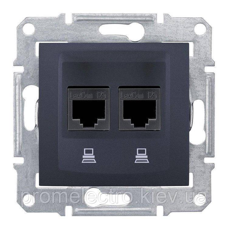 Розетка Schneider-Electric Sedna компьютерная UTP кат. 5е двойная графит (SDN4400170)