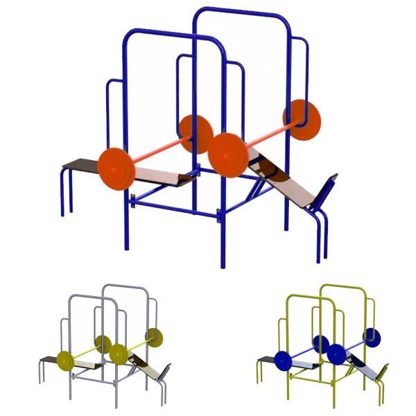 Тренажер для жима лежа комбинированный SG138. Уличный с метала.
