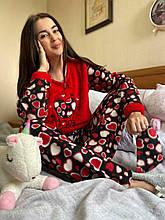 Піжама утеплена жіноча червона кофта та штани код П216