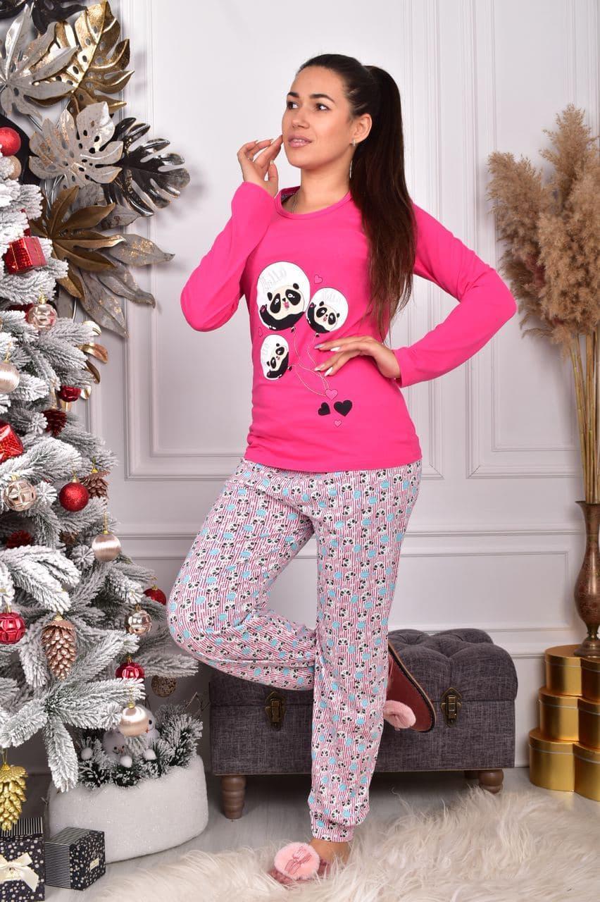 Піжама жіноча рожева кофта та штани код П220