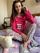 Піжама жіноча рожева кофта та штани код П221