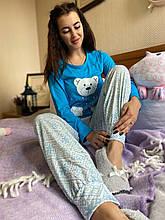 Піжама жіноча блакитна кофта та штани код П222