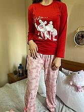 Піжама жіноча червона кофта та штани код П223