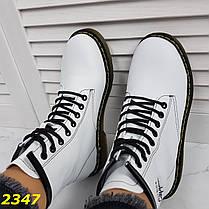 Ботинки на массивной тракторной подошве демисезон белые, фото 2