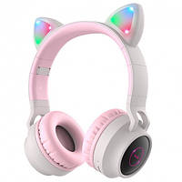 Наушники Bluetooth HOCO Cheerful Cat ear W27, СЕРЫЕ