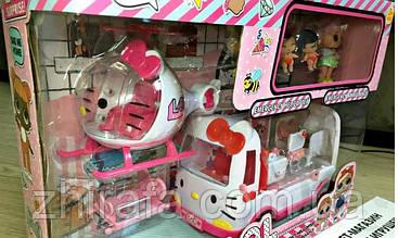 Набор кукол LOL ЛОЛ вертолет машина скорой помощи, 4 куклы аксессуары