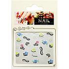 Самоклеящиеся Наклейки для Ногтей 3D Nail Stickers FP-Н-01, Разноцветные Цветы и Черный Орнамент Дизайн Ногтей, фото 2