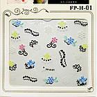 Самоклеящиеся Наклейки для Ногтей 3D Nail Stickers FP-Н-01, Разноцветные Цветы и Черный Орнамент Дизайн Ногтей, фото 4