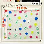 Самоклеящиеся Наклейки для Ногтей 3D Nail Stickers FP-Н-04, Разноцветные Цветы с Завитками, Ногти, Маникюр, фото 2
