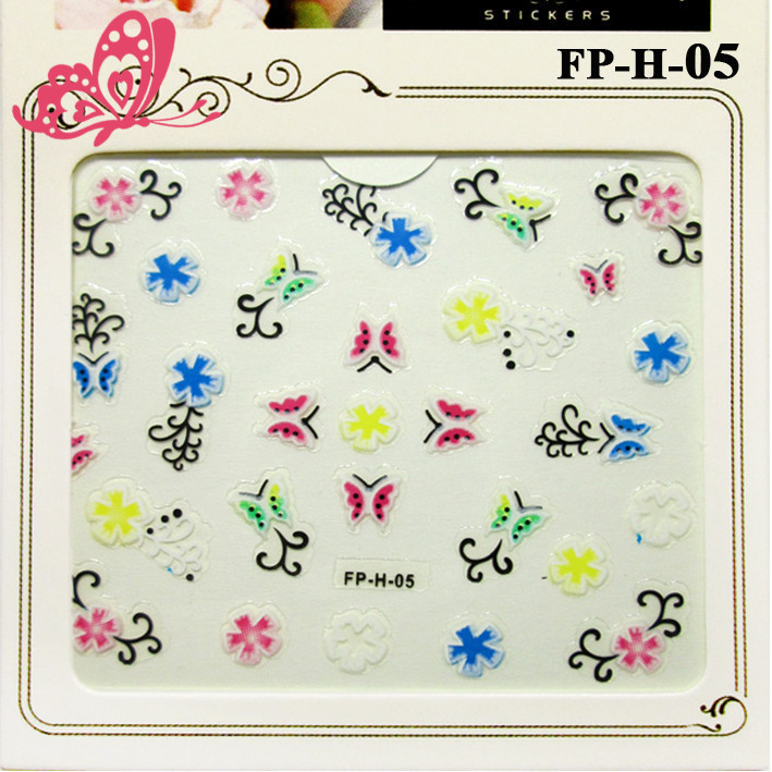 Самоклеящиеся Наклейки для Ногтей 3D Nail Stickers FP-Н-05 Бабочки, Цветы, Завитки, Декор Дизайн Ногтей