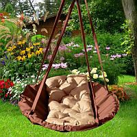 Подвесные качели для дачи Brown crem Time Textile коричневый с бежевым TT092
