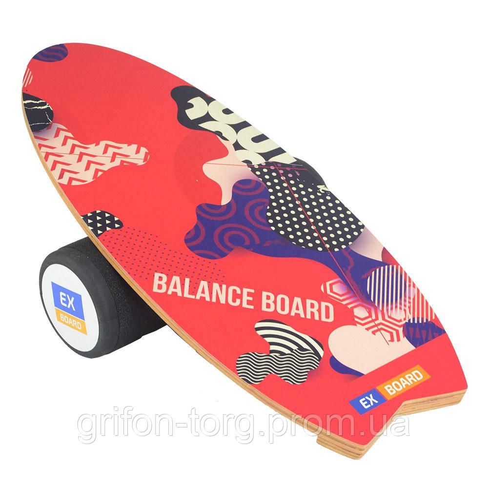 Балансборд Ex-board Surf Red черный валик 16 см литой (EX73)