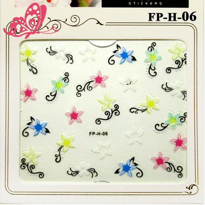 Самоклеящиеся Наклейки для Ногтей 3D Nail Stickers FP-Н-06, Разноцветные Цветы с Завитками, Ногти, Маникюр