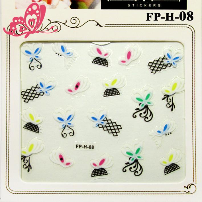 Самоклеящиеся Наклейки для Ногтей 3D Nail Stickers FP-Н-08, Разноцветные Бабочки и Черные Сетки, Дизайн Ногтей