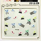 Самоклеящиеся Наклейки для Ногтей 3D Nail Stickers FP-Н-08, Разноцветные Бабочки и Черные Сетки, Дизайн Ногтей, фото 2