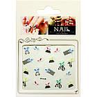 Самоклеящиеся Наклейки для Ногтей 3D Nail Stickers FP-Н-08, Разноцветные Бабочки и Черные Сетки, Дизайн Ногтей, фото 3