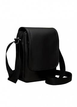 Сумка мессенджер черная с экокожи унисекс Мужская черная сумка Сумка мужская Сумка для парня