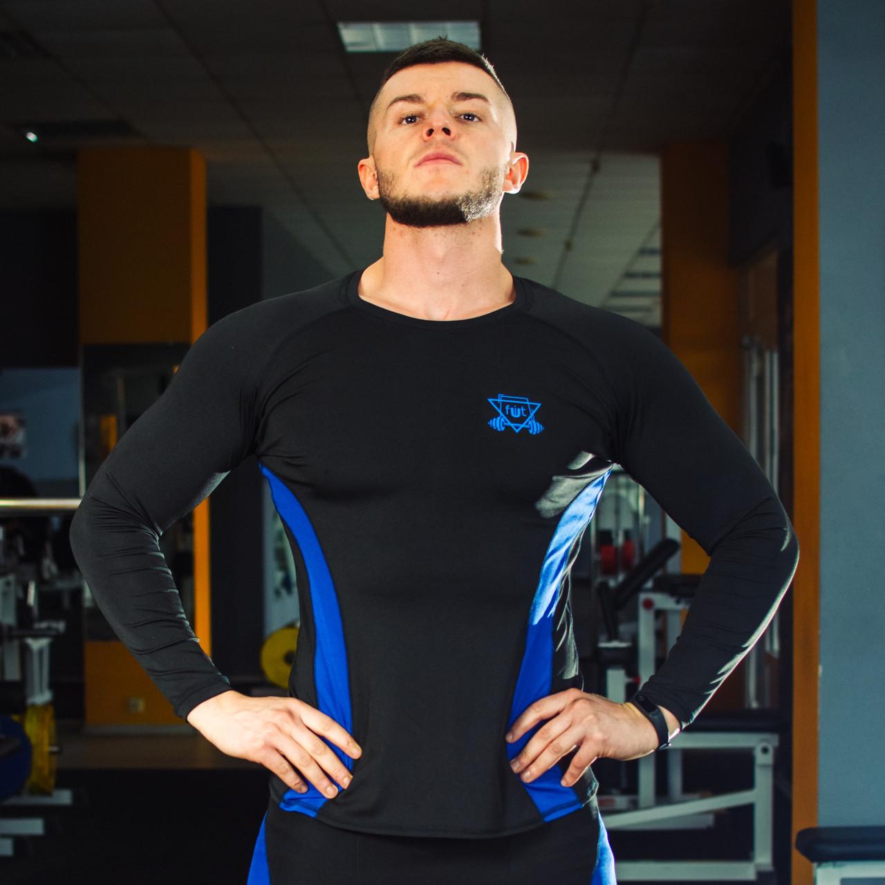 Рашгард компрессионный мужской спортивный FitU RushPro Blue FitU