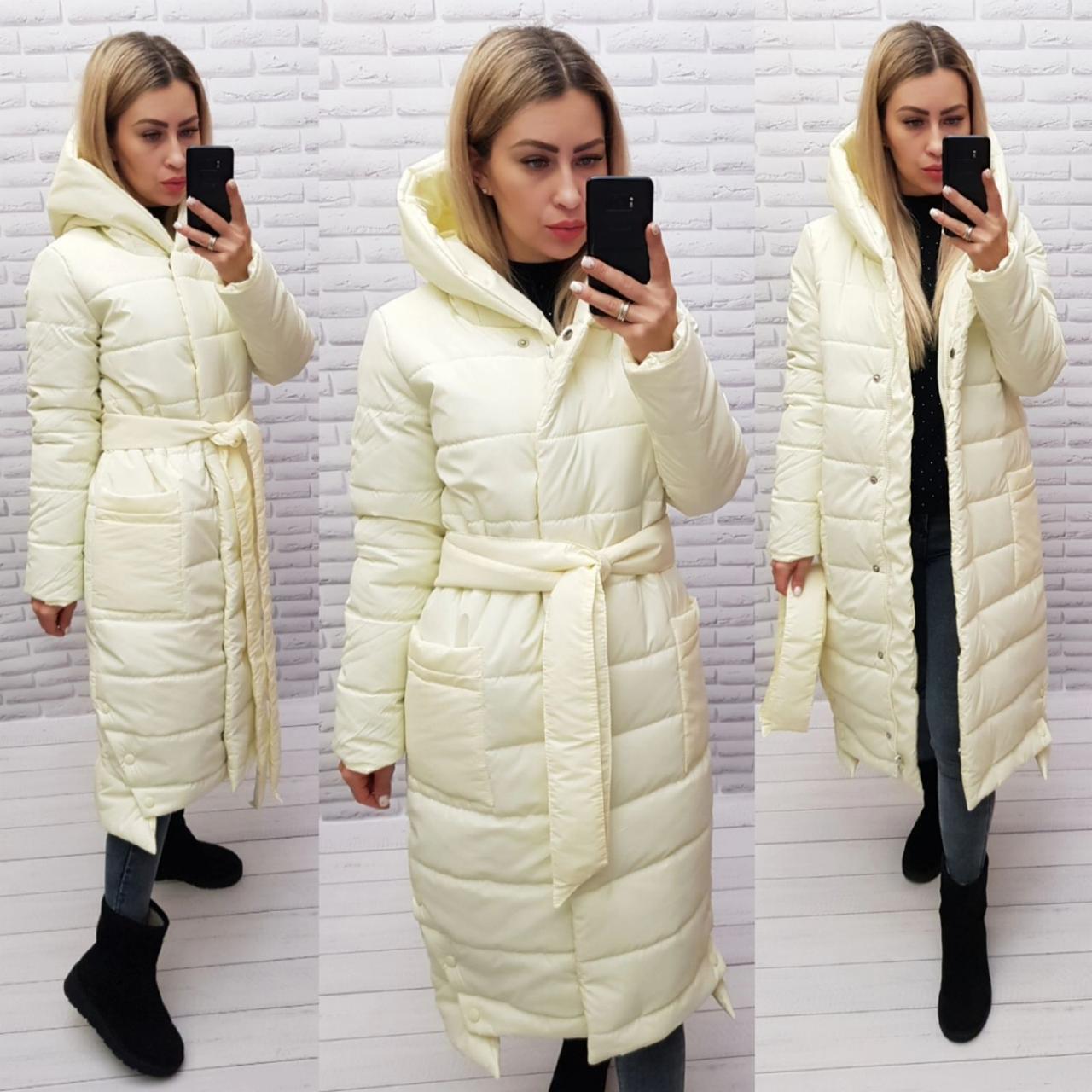 М032 Теплое зимнее пальто, цвет брызги шампанского, плащевка матовая