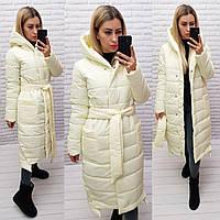 М032 Теплое зимнее пальто, цвет брызги шампанского, плащевка матовая, фото 1