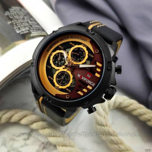 Оригинальные мужские наручные часы  Naviforce NF9110 Black-Brown Навифорс