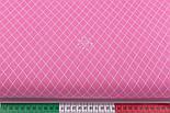 """Ткань бязь """"Сетка из ромбов"""" белая на розовом фоне, №3202а, фото 2"""