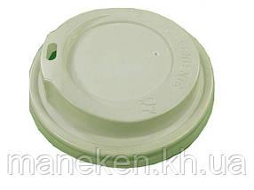 Кришка для склянки паперовий Ф75 (гар) біла Дніпро ( на 250мл Маєстро) (50 шт)