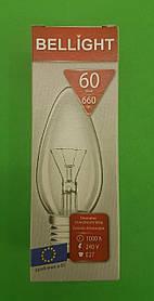 """Лампа свічка прозора """"BELLIGHT"""" 60W E27 в індивідуальній упаковці (1 шт)"""