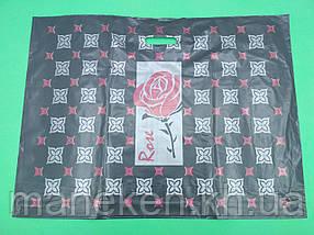 """Пакет з прорізною ручкою (68*50+3) """"Троянда"""" Леомі (25 шт)"""