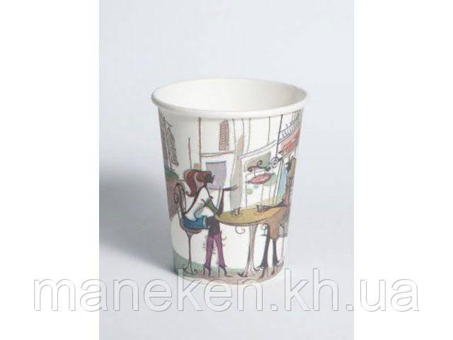 Стакан бумажный для кофе и чая вендинговый 175мл №11 Дама в кафе Маэстро (50 шт)