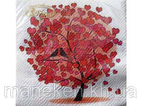 Свадебная салфетка (ЗЗхЗЗ, 20шт) La Fleur  Любовное дерево (057) (1 пачка)
