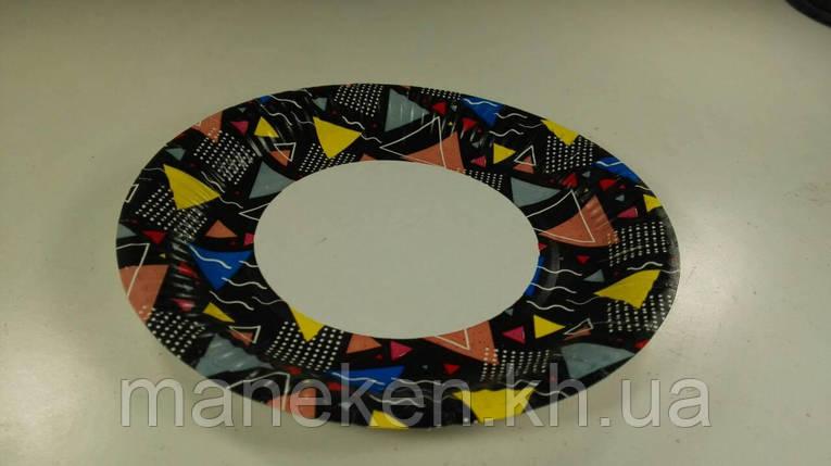 Тарелка бумажная ламинированая 18см рисунок Коричневая  50шт (1 пач), фото 2