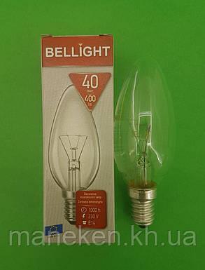 """Лампа-свеча прозрачная """"BELLIGHT"""" 40W E14 в индивидуальной упаковке  (1 шт), фото 2"""