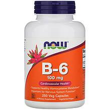 """Вітамін В6, NOW Foods """"Vitamin B-6"""" 100 мг (250 капсул)"""