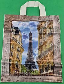 """Пакет з петлевий ручкою ср п ламинир.""""Париж"""" (30х35+3) 80мк КВС (50 шт)"""