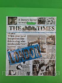 """Пакет з прорізною ручкою (42*52,5+3)""""Газета """"LONDON blue"""" (50 шт)"""